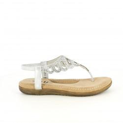 Sandalias planas You Too plateadas con brillantes y elástico en el tobillo - Querol online