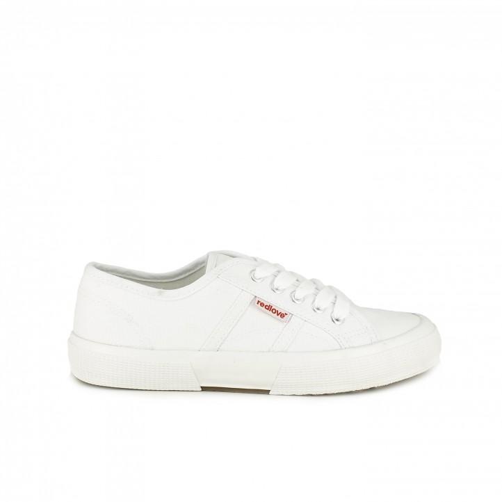 Zapatillas lona Redlove blancas con cordones - Querol online