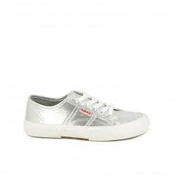 Zapatillas lona Redlove gris metalizado con cordones - Querol online