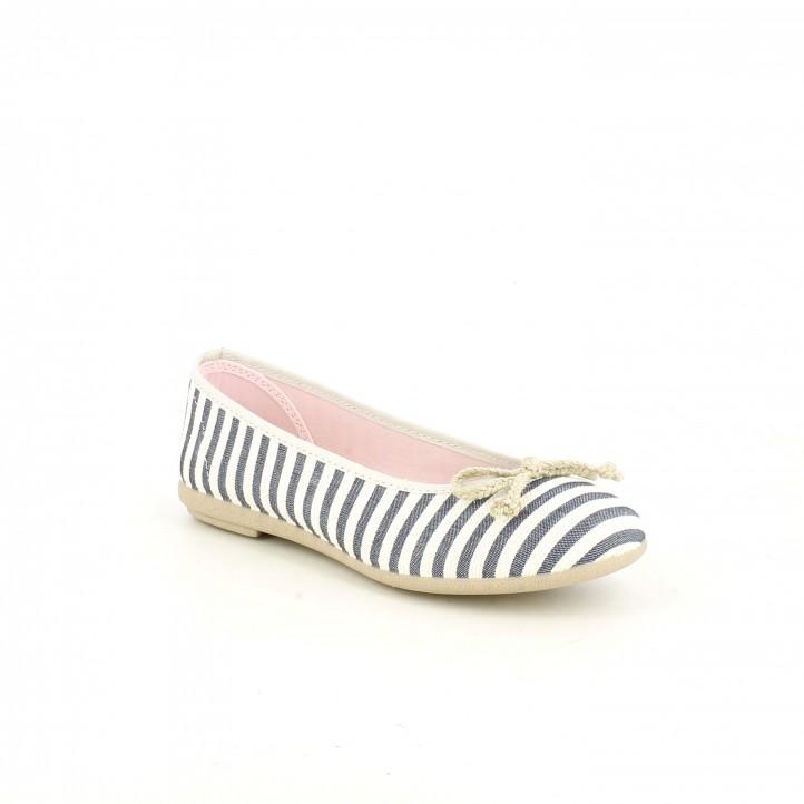 Bailarinas Duvic de rayas azules y blancas - Querol online