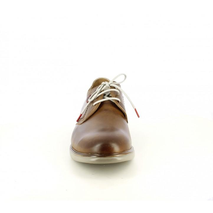 Zapatos sport Fluchos bluchers marrones de piel con cordones - Querol online