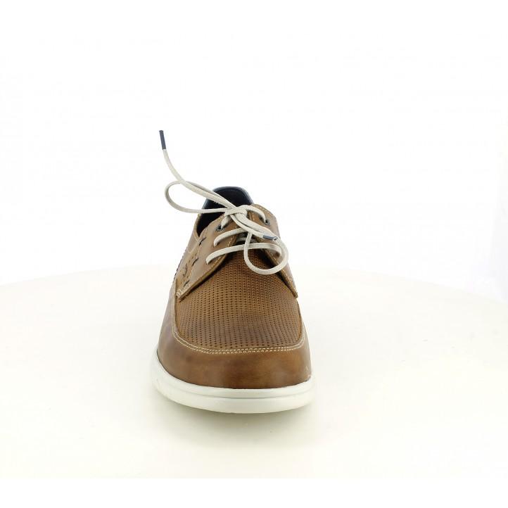 Zapatos sport Fluchos de piel marrones con detalles azules - Querol online