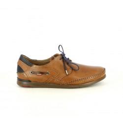 Zapatos sport Fluchos de piel marrones con cordones azules - Querol online