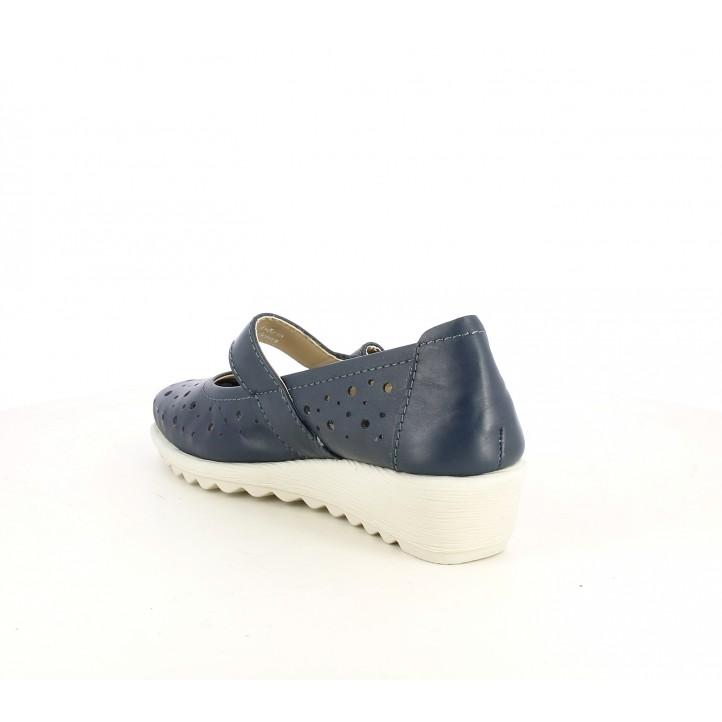 Cuñas Tiglio azules con orificios, velcros y plataforma - Querol online