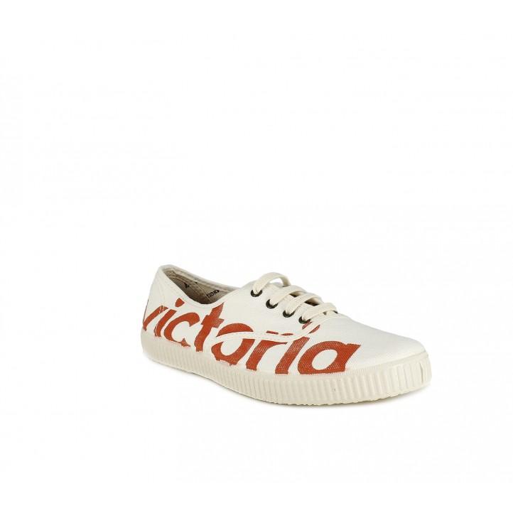 Sabatilles lona Victoria blanques amb logotip en vermell i cordons - Querol online