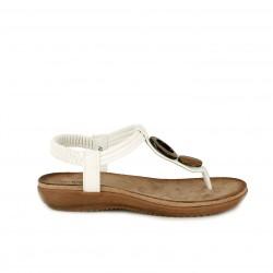 9fde38189 Sandalias planas Amarpies blancas de dedo con elástico en el tobillo -  Querol online