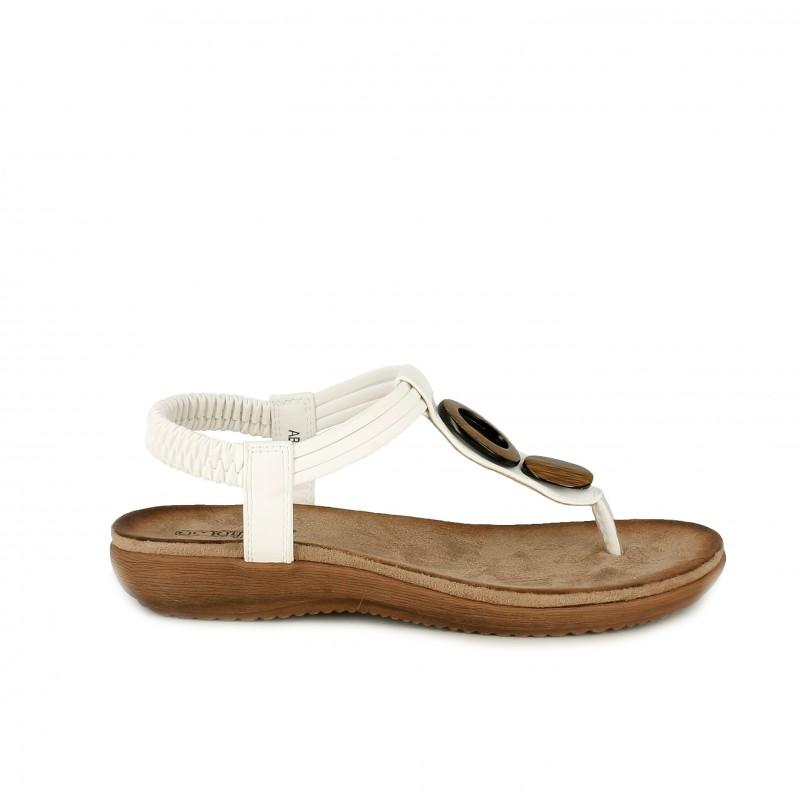 Sandalias Blancas Amarpies Tobillo El Dedo En Planas De Con Elástico 0OwPkn8X