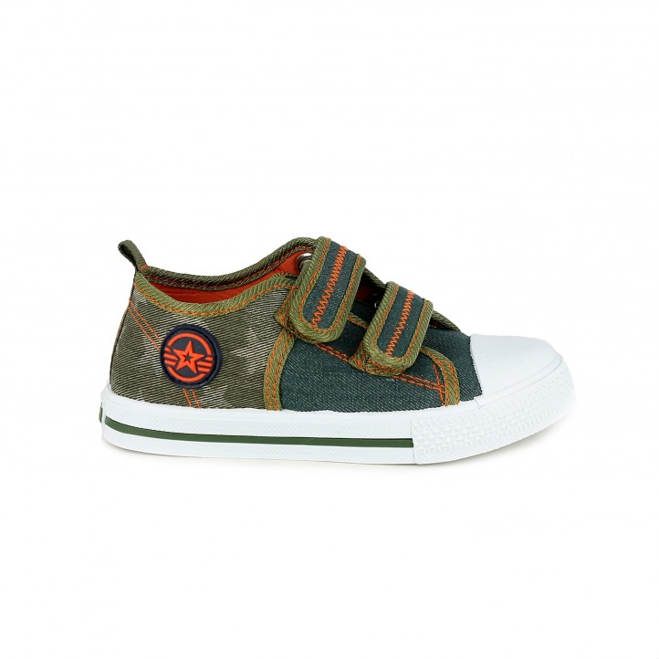Zapatillas lona K-Tinni verdes con doble velcro - Querol online