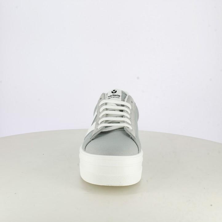 Sabatilles lona Victoria grises i blanques amb cordons i plataforma - Querol online