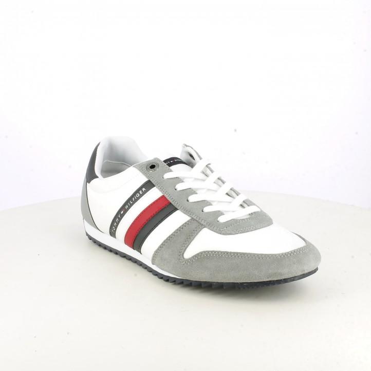 Zapatillas deportivas Tommy Hilfiger blancas y grises con detalles azules y rojos - Querol online