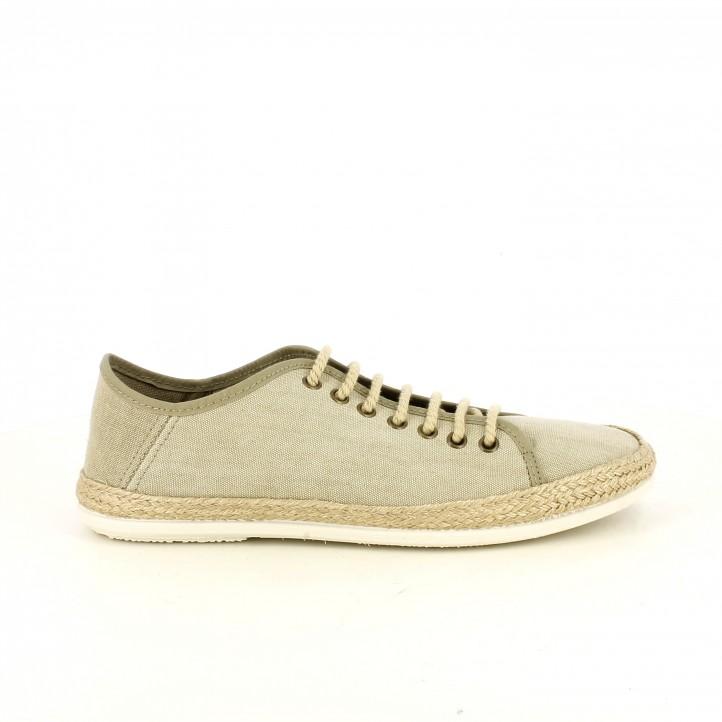 Zapatillas lona BAMBA grises con detalles de esparto - Querol online