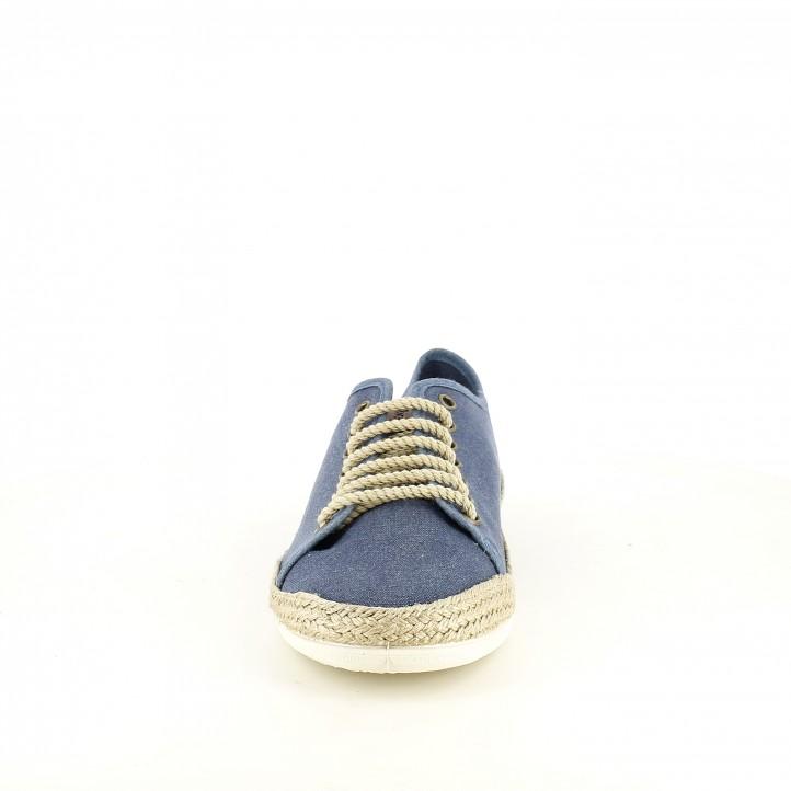 Zapatillas lona BAMBA azules con detalles de esparto - Querol online