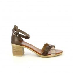Sandalias tacón Porronet de piel marrones con tiras multicolor - Querol online