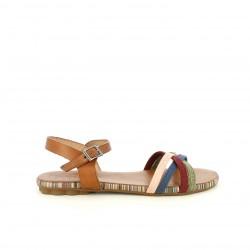 Sandalias planas Porronet marrones de piel con tiras multicolor - Querol online