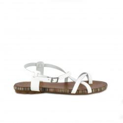 Sandalias planas Porronet blancas de piel con tiras - Querol online