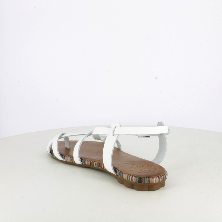 Sandàlies planes Porronet blanques de pell amb tires - Querol online