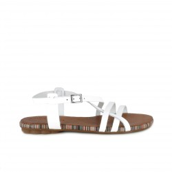 Sandalias planas Porronet de piel blancas con tiras y hebilla en el tobillo - Querol online