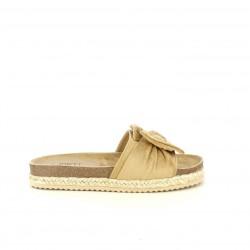 Sandalias planas Owel marrones con lazo, detalles de esparto y dorado - Querol online