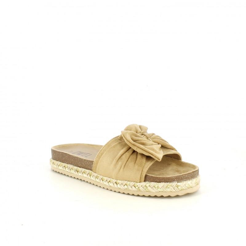 373d0624b1 ... Sandalias planas Owel marrones con lazo, detalles de esparto y dorado -  Querol online ...