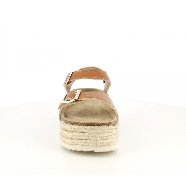 Sandàlies planes Owel marrons tancades amb doble sivella i plataforma d'espart - Querol online