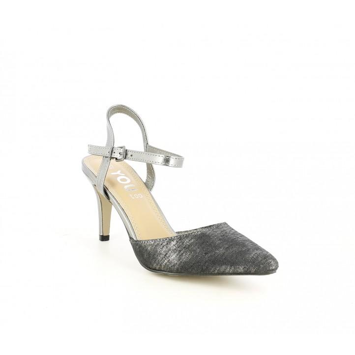 Zapatos tacón You Too negro metalizado de punta con hebilla - Querol online