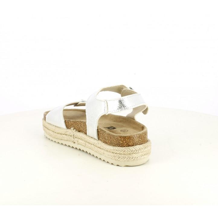sandalias Xti grises metalizadas con plataforma de esparto con tiras y hebillas - Querol online