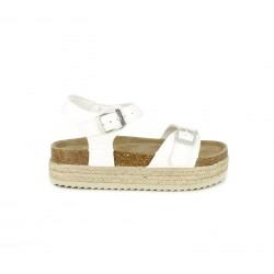 sandàlies Xti blanques amb plataforma d'espart amb tires i sivelles - Querol online