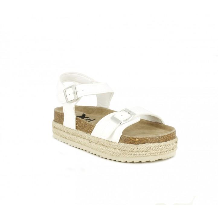 sandalias Xti blancas con plataforma de esparto con tiras y hebillas - Querol online