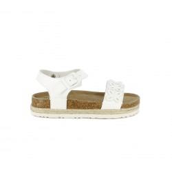sandàlies Xti blanques amb sivella i detalls de flors - Querol online