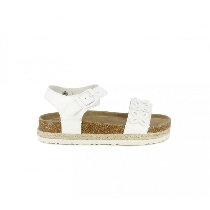 sandalias Xti blancas con hebilla y detalles de flores - Querol online