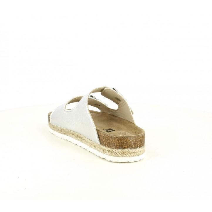 sandalias Xti grises metalizadas con doble hebilla - Querol online