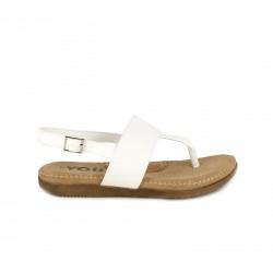 Sandalias planas You Too blancas de dedo con tira y hebilla - Querol online