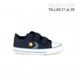 Zapatillas lona Converse star player azul marino con detalle amarillo - Querol online
