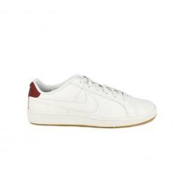 Zapatillas deportivas Nike blancas con detalles rojos y cordones - Querol online