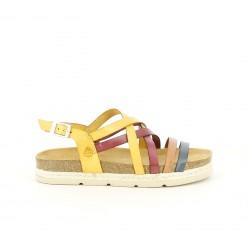 Sandalias planas Yokono de piel con tiras multicolor y hebilla - Querol online