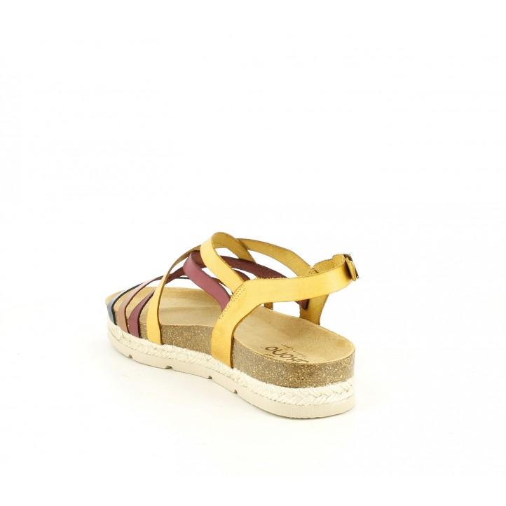 Sandàlies planes Yokono de pell amb tires multicolor i sivella - Querol online