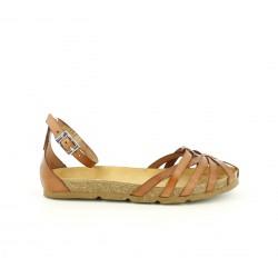 Sandalias planas Yokono marrones de piel con hebilla en el tobillo - Querol online