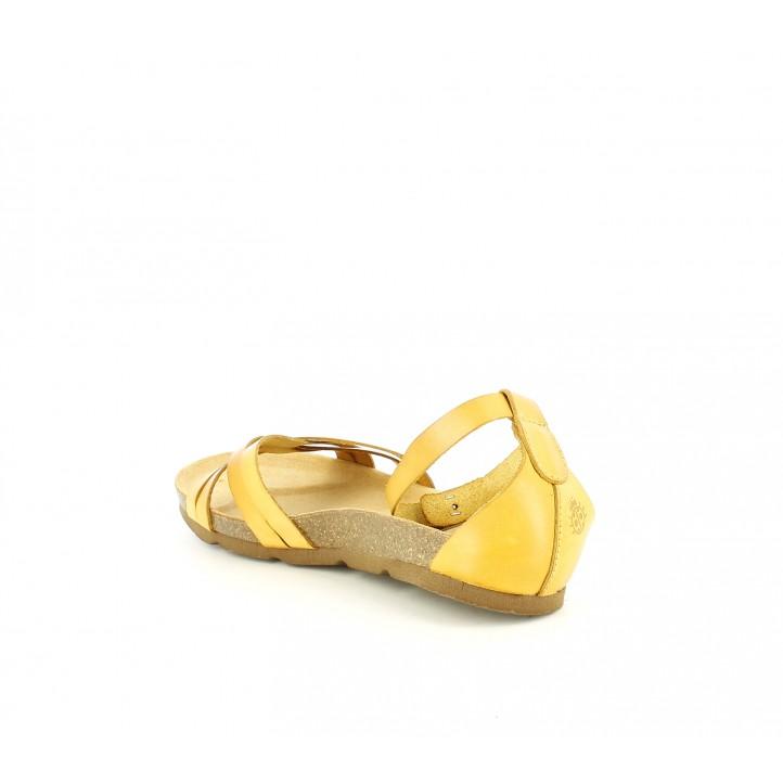Y Yokono Tiras En Piel Tobillo Amarillas De El Hebilla Con Sandalias Planas Omwv0N8n