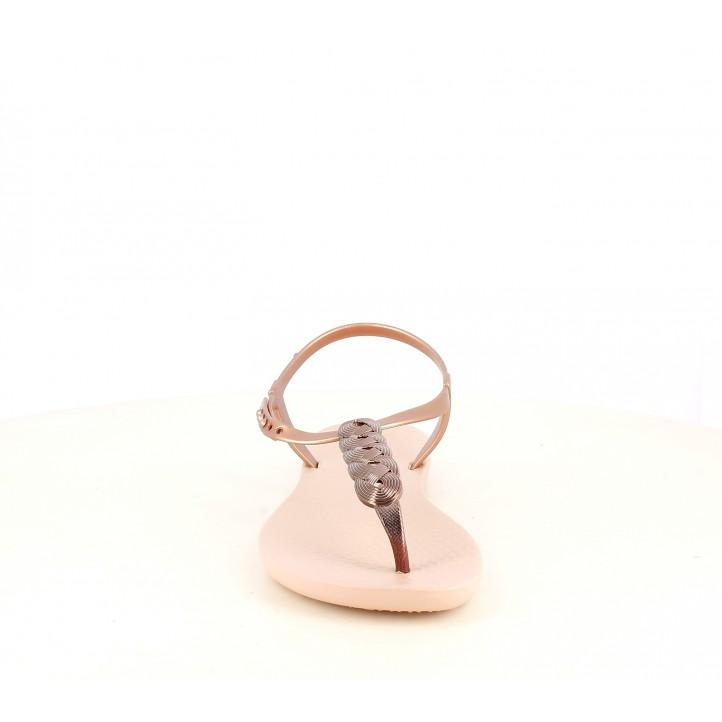 Chanclas Ipanema rosas con detalle metalizado trenzado - Querol online
