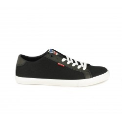 Zapatillas lona Levi's negras con cordones - Querol online