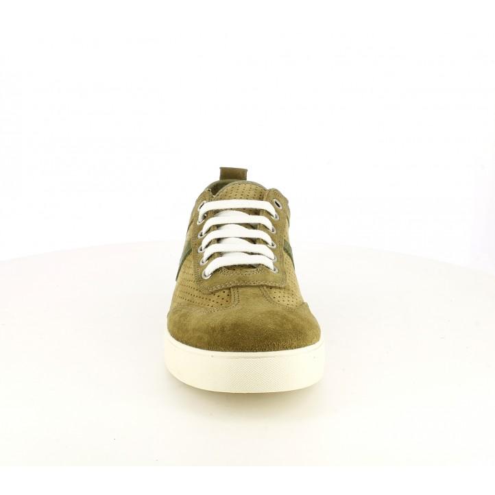 Zapatos sport Lobo de piel verdes con cordones - Querol online