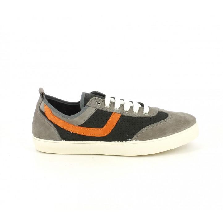 Zapatos sport Lobo de piel grises y naranjas con cordones - Querol online