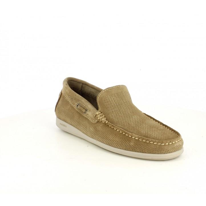 Zapatos sport T2in mocasines marrones de piel - Querol online