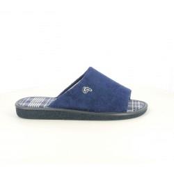 Zapatillas casa Garzon azules de cuadros - Querol online