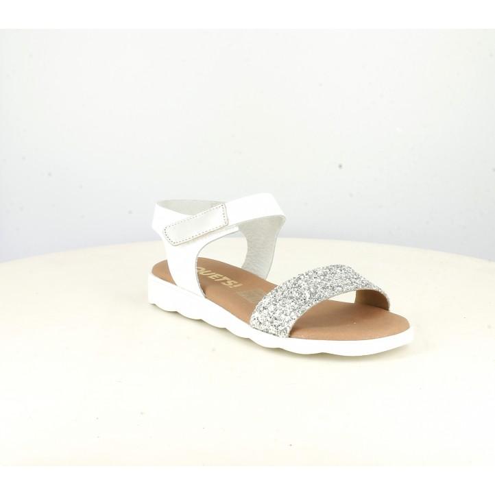 sandalias QUETS! blancas y grises con purpurina y velcro - Querol online