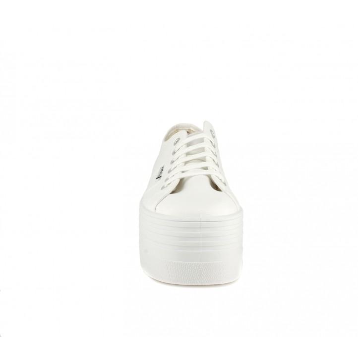 Zapatillas lona Victoria de plataforma blancas con cordones - Querol online