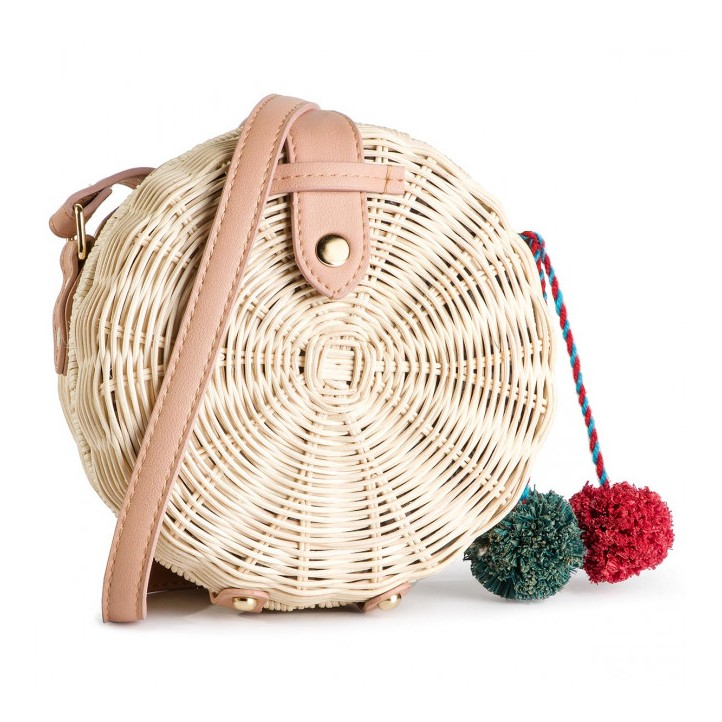 Complementos Gioseppo bolso redondo de fibra con pompones - Querol online