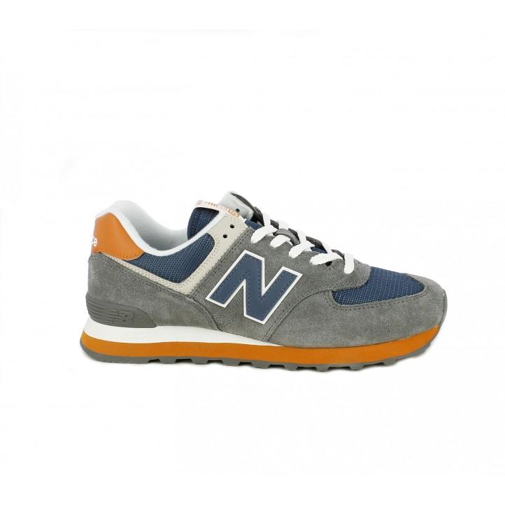 zapatillas new balance grises con azul