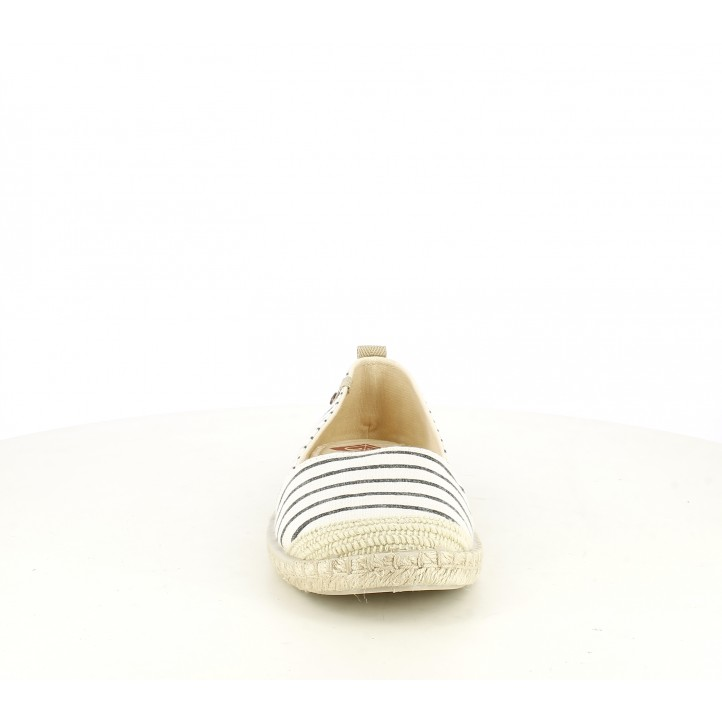 Espardenyes Roxy blanques i blaves de ratlles amb sola d'espart - Querol online