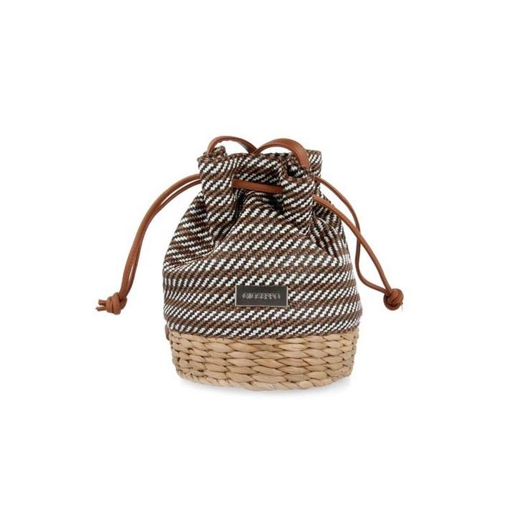 Complementos Gioseppo bolso trenzado de fibra marron, blanco y negro - Querol online